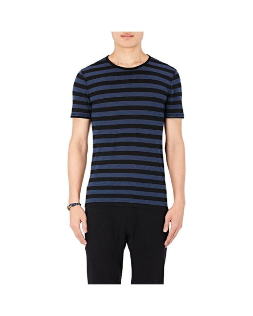 John Varvatos | Blue Striped Slub Jersey T-shirt for Men | Lyst