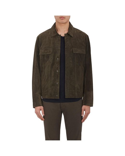 Vince Suede Shirt Jacket In Brown For Men Lyst