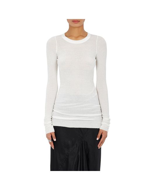 Rick Owens | White Ribbed Long-sleeve T | Lyst