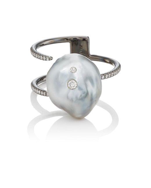 Samira 13 - Black Keshi Pearl & White Diamond Cuff Ring - Lyst