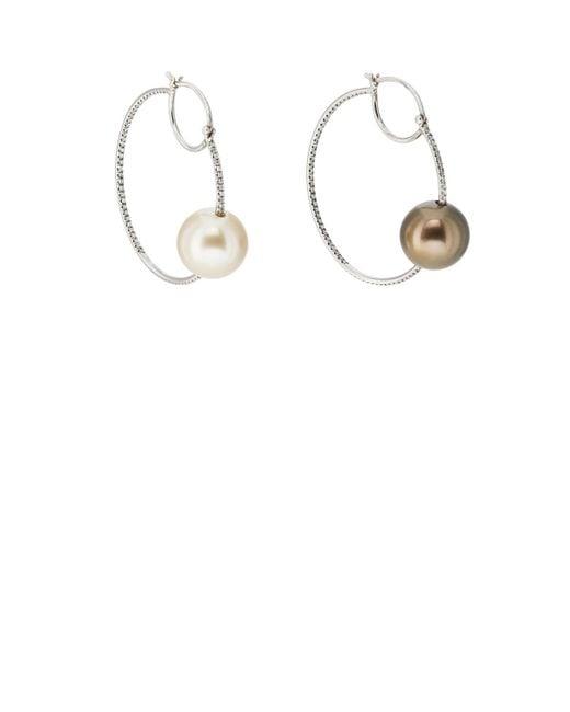 Zoe - Metallic Pearl & Diamond Hoop Earrings - Lyst