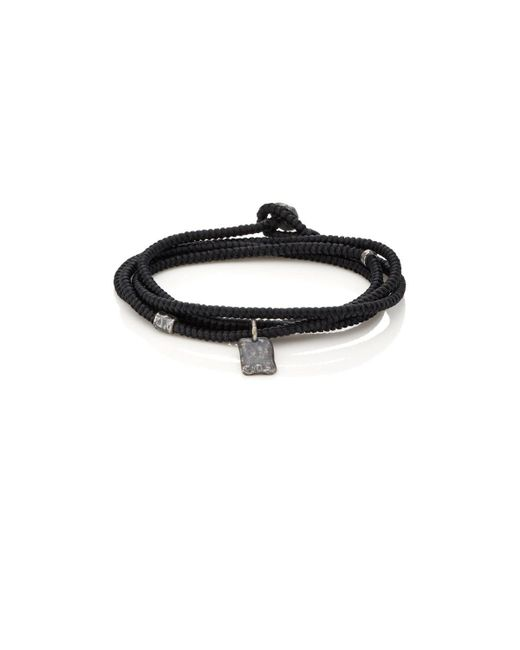 M. Cohen - Black Tag On Cord Wrap Bracelet for Men - Lyst