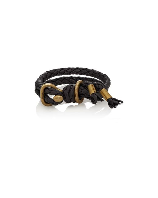 Giles & Brother - Metallic Leather Double-band Bracelet for Men - Lyst