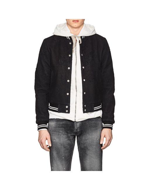 John Elliott - Black Yuji Distressed Leather Varsity Jacket for Men - Lyst