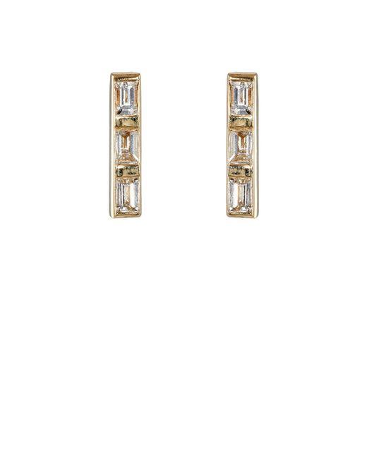 Ileana Makri - Metallic Thread Bar Stud Earrings - Lyst