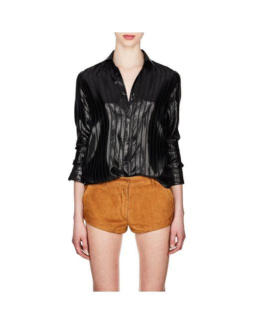 10065c6b96 Saint Laurent - Black Striped Silk-blend Lamé Blouse - Lyst ...