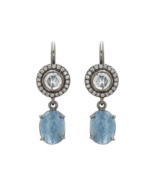 Zoe - Blue Diamond & Sapphire Drop Earrings - Lyst