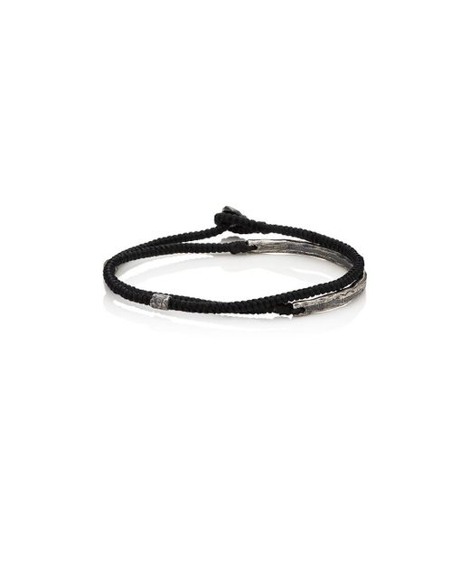 M. Cohen | Black Silver Bar On Knotted Cord Wrap Bracelet | Lyst