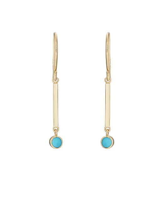 Jennifer Meyer - Metallic Turquoise Bezel Mini Stick Drop Earrings - Lyst