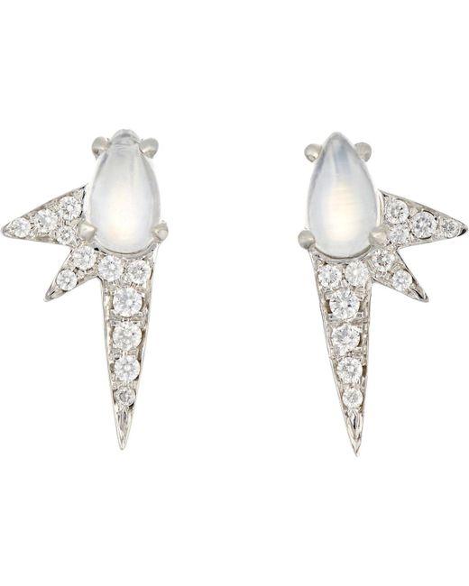 Finn | White Moonstone Spike Stud Earrings | Lyst