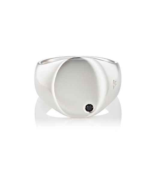 Tom Wood - Metallic Black Diamond & Sterling Silver Oval Signet Ring - Lyst