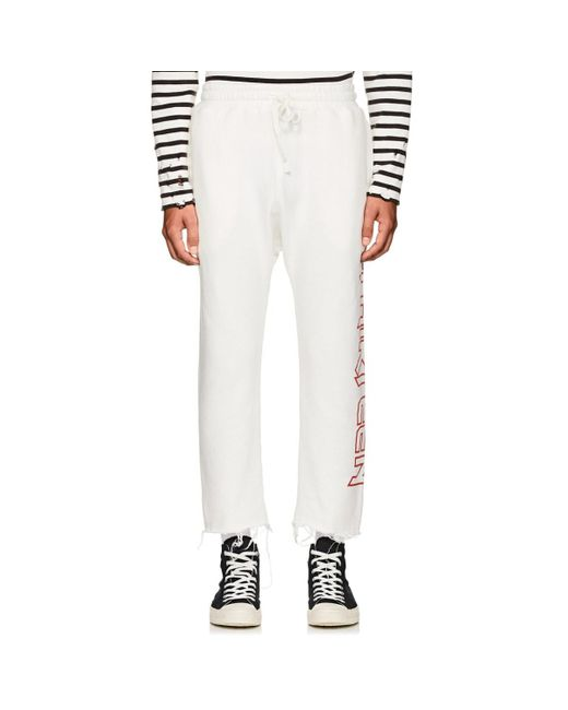 59b3104fc R13 - White Logo Cotton-blend Crop Sweatpants for Men - Lyst ...