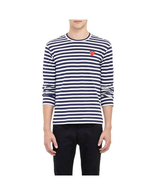 Play Comme des Garçons - Blue Striped Long-sleeve T-shirt for Men - Lyst