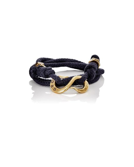 Giles & Brother - Black Rope Wrap Bracelet With S-hook for Men - Lyst