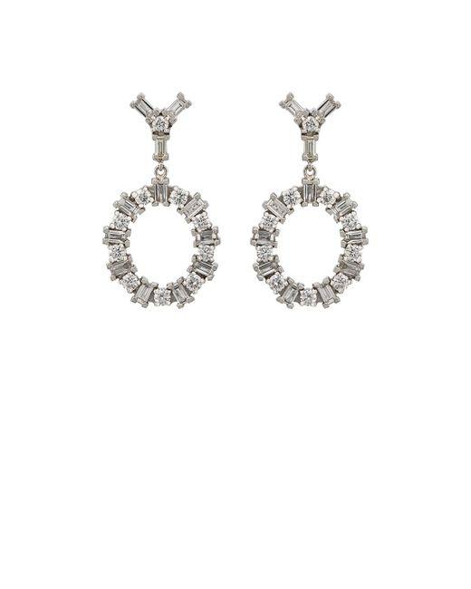 Ileana Makri - Metallic White Diamond Double-drop Earrings - Lyst