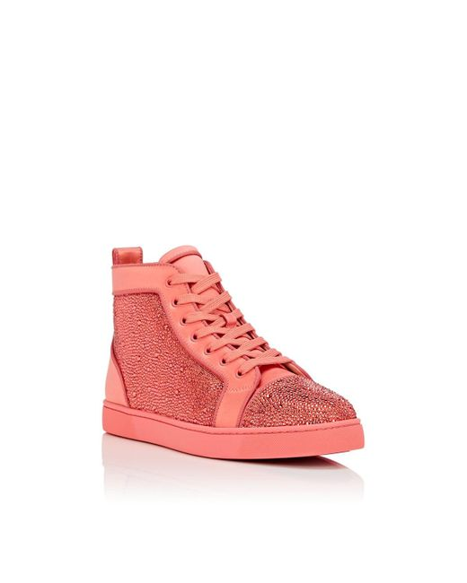 92a57c2f8d7 ... Christian Louboutin - Pink Louis Orlato Flat Satin Sneakers for Men -  Lyst ...