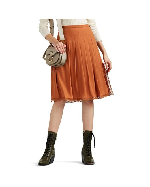 Chloé - Orange Silk Crêpe De Chine Midi-skirt - Lyst