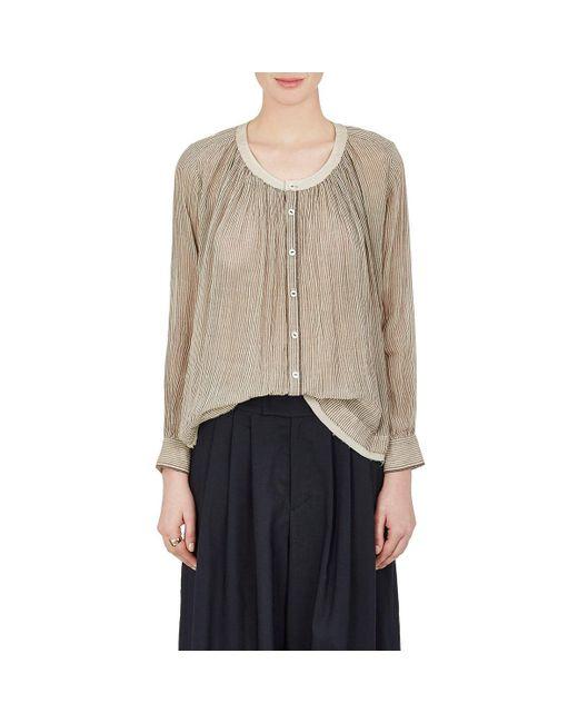 Pas De Calais | Natural Striped Sheer Cotton Voile Shirt | Lyst