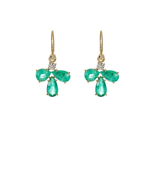 Irene Neuwirth | Metallic White Diamond & Emerald Drop Earrings | Lyst