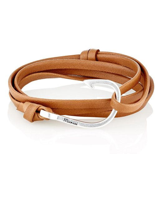 Miansai | Metallic Hook On Leather Wrap Bracelet for Men | Lyst