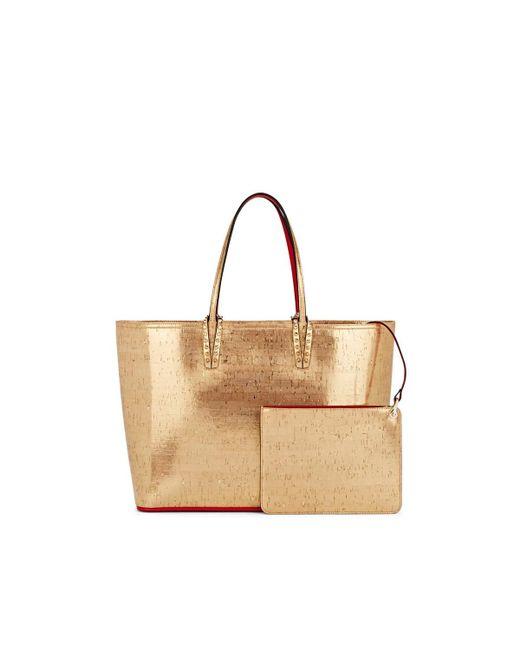 7d8f29a0475c ... Christian Louboutin - Metallic Cabata Cork-textured Tote Bag - Lyst ...