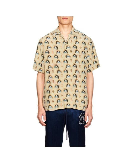 a5e4145b476f57 Lyst - Gucci Men s Anime Graphic Short-sleeve Silk Shirt in Pink for Men