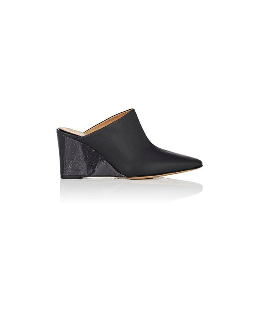The Row - Black Flora Leather Mules - Lyst