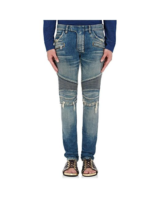 Balmain | Blue Distressed Slim Biker Jeans for Men | Lyst