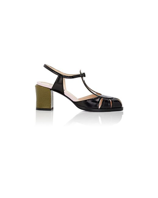 Fendi | Black 'chameleon' T-strap Sandal | Lyst