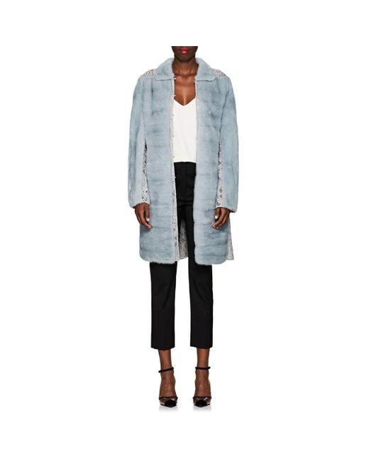 372e7ad75c Valentino - Blue Lace-inset Mink Fur Coat - Lyst ...