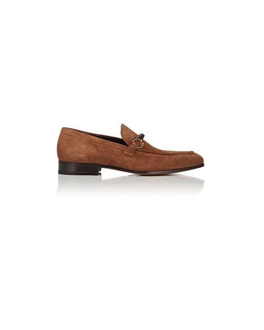 Ferragamo - Brown Cross Suede Loafers for Men - Lyst
