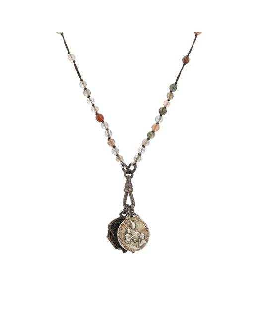 Miracle Icons | Gray Spiritual Icon Charms On Beaded Necklace | Lyst