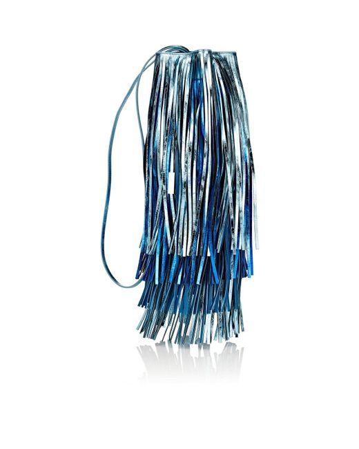 CALVIN KLEIN 205W39NYC - Blue Fringed Leather Bucket Bag - Lyst