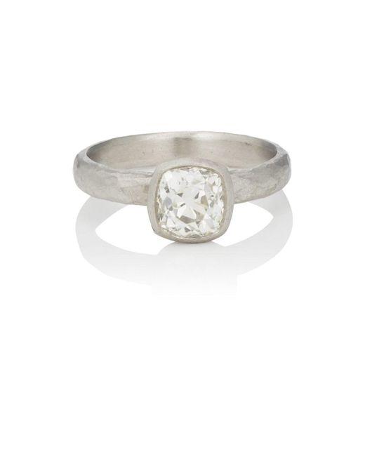 Malcolm Betts - Metallic Cushion-cut White Diamond Ring - Lyst