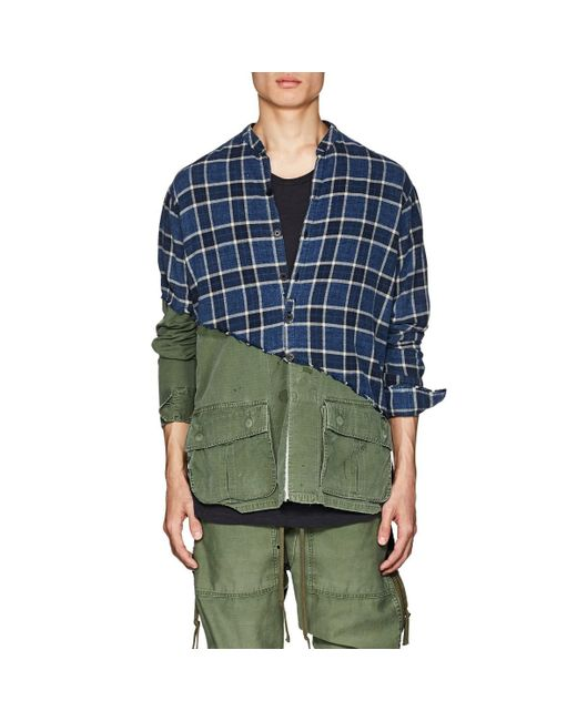 Greg Lauren - Blue Plaid Cotton Flannel & Ripstop Studio Shirt for Men - Lyst