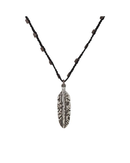 Feathered Soul - Black Feather Pendant On Silk Cord Necklace - Lyst