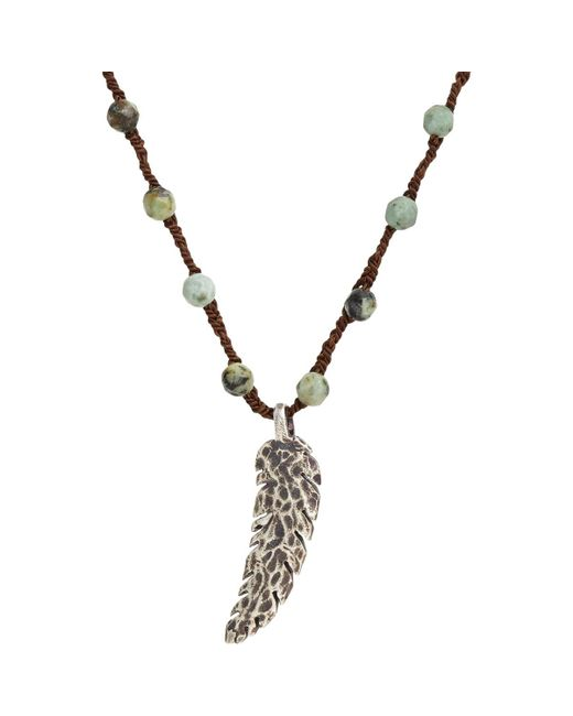 Feathered Soul | Metallic Feather Pendant On Turquoise Bead & Silk Cord for Men | Lyst