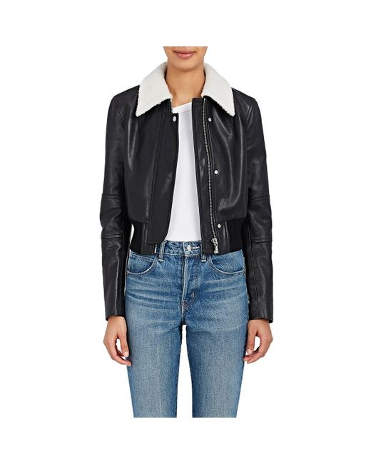 Helmut Lang | Black Leather Crop Bomber Jacket | Lyst