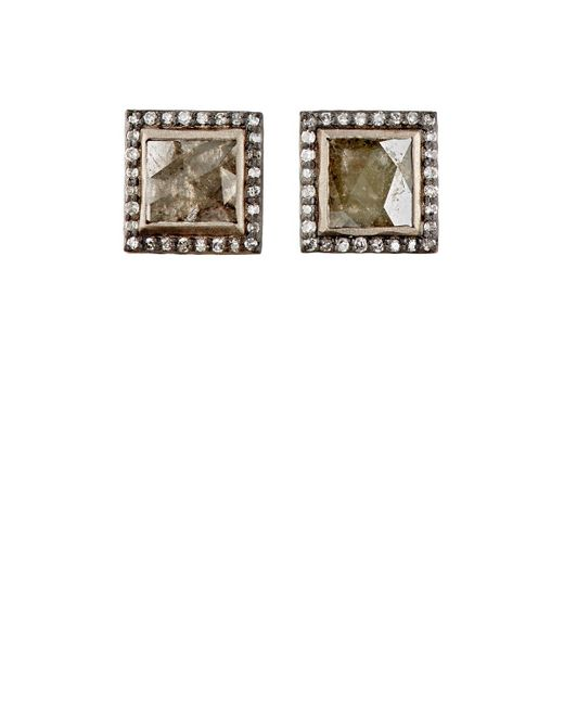 Nak Armstrong - Multicolor Diamond Square Stud Earrings - Lyst
