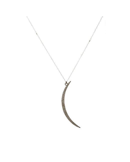 Feathered Soul - Metallic Diamond Moon Pendant Necklace - Lyst