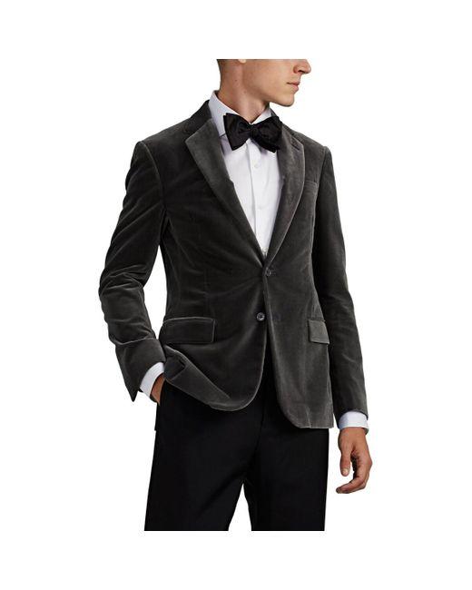 Ralph Lauren Purple Label Gray Cotton Velvet Two-button Sportcoat for men