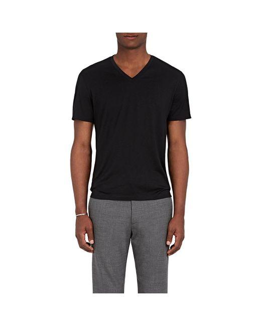 Theory - Black Claey Plaito Silk-cotton T-shirt for Men - Lyst