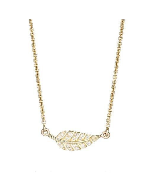 Jennifer Meyer | Metallic Pavé Diamond Leaf Pendant Necklace | Lyst