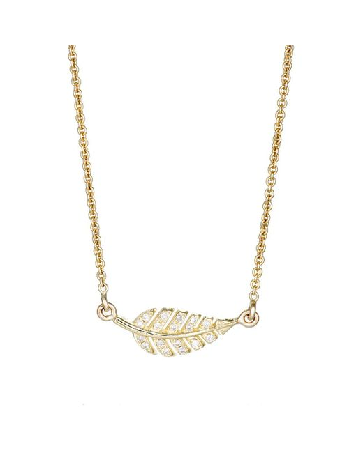 Jennifer Meyer - Metallic Pavé Diamond Leaf Pendant Necklace - Lyst