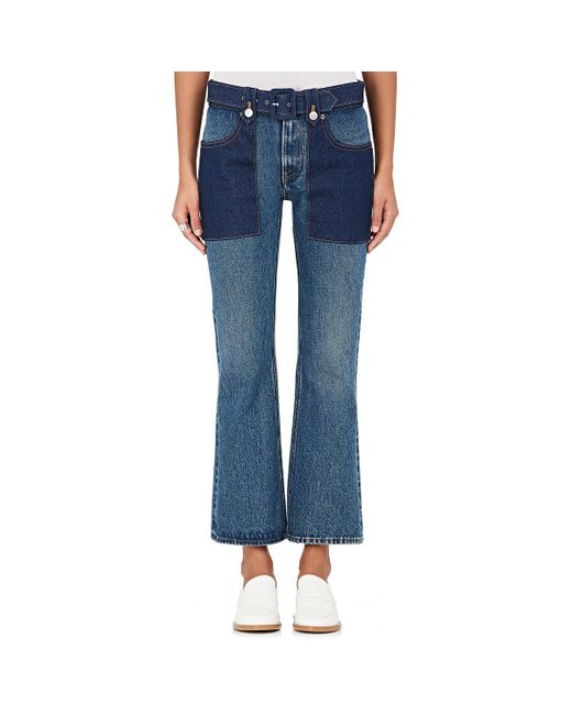 MM6 by Maison Martin Margiela | Blue Belted Flared Jeans | Lyst