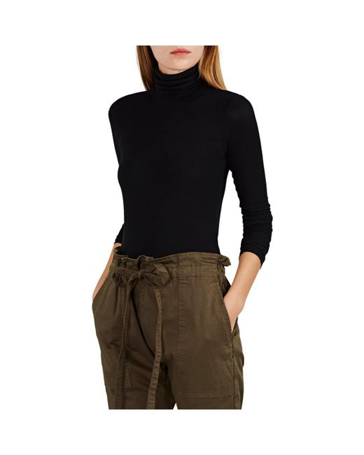 ATM - Black Rib-knit Turtleneck Top - Lyst