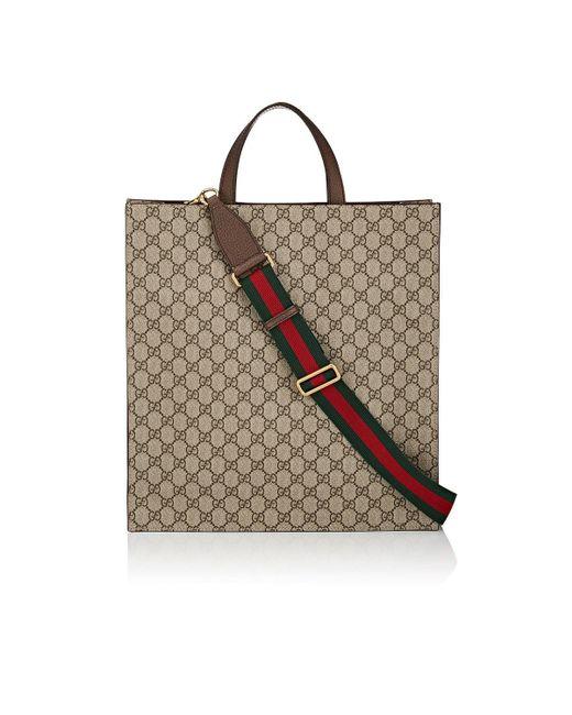 170b8f3fc7d ... Gucci - Natural Appliquéd GG Supreme Shopper Tote Bag for Men - Lyst ...
