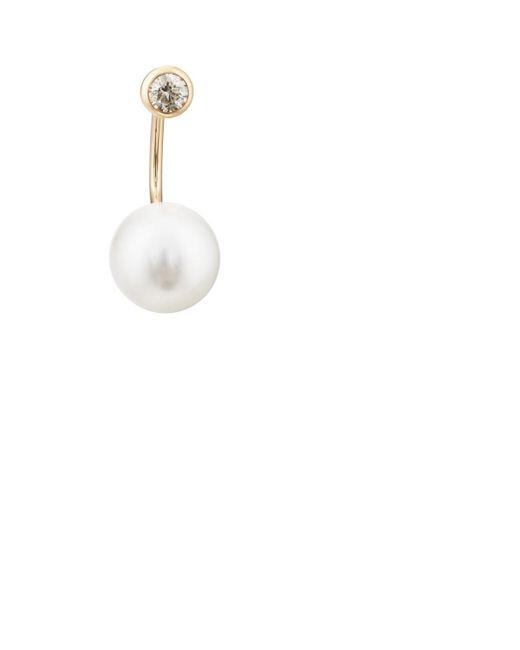 Hirotaka - Metallic White-diamond & Akoya-pearl Earring - Lyst