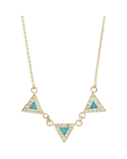 Jennifer Meyer - Blue Diamond & Turquoise Banner Necklace - Lyst