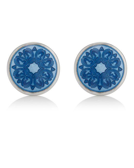 Barneys New York - Blue Floral Cufflinks for Men - Lyst